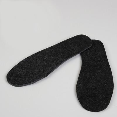 Стельки для обуви, толстые, 43 р-р, пара, цвет чёрный/серый