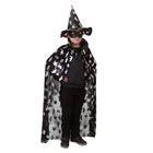 """Карнавальный костюм """"Летучие мыши, пауки, черепа"""", шляпа, плащ, серебро на чёрном, длина 85 см"""