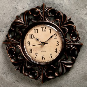 """Часы настенные, серия: Интерьер, """"Тёмные лилии"""", d=25 см"""