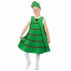 """Карнавальный костюм """"Ёлочка в снегу"""", платье из плюша, кокошник, р-р 32, рост 128 см"""