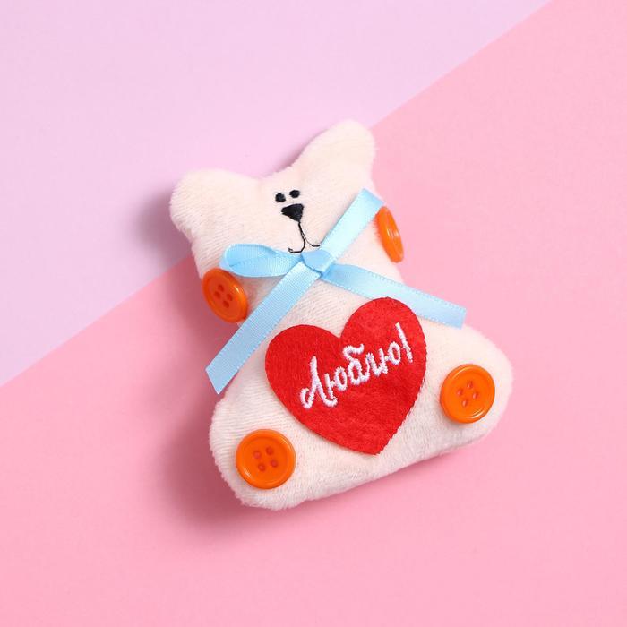 Магнит «Люблю», котик с пуговками