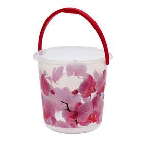 Ведро «Деко. Орхидея», 5 л, цвет розовый/прозрачный