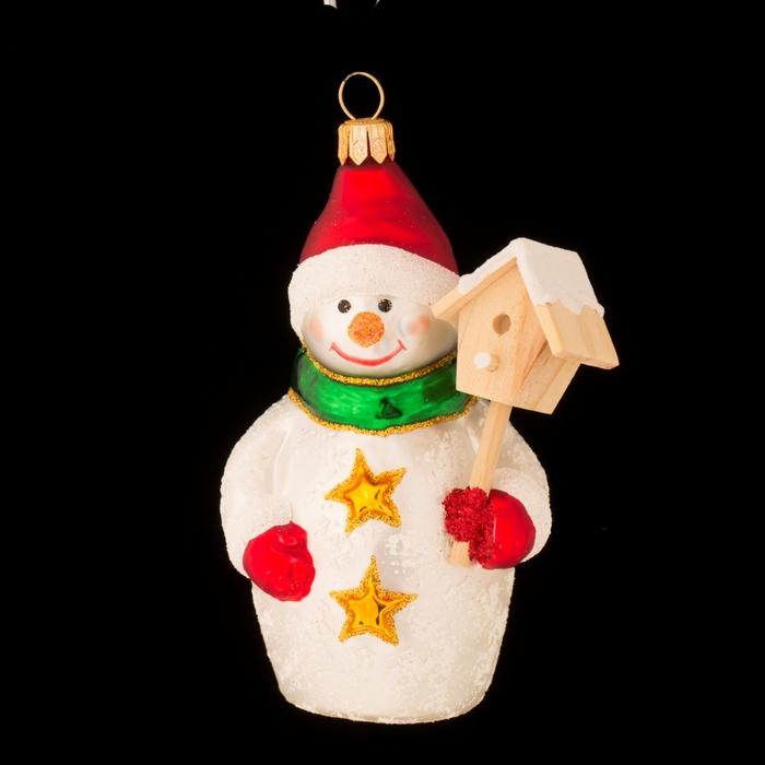"""Ёлочная игрушка """"Снеговик со скворечником"""""""