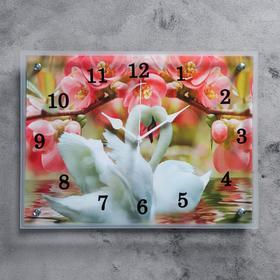 """Часы настенные, серия: Животный мир, """"Лебеди и розовые цветы"""", 30х40  см, микс"""