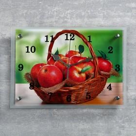"""Часы настенные, серия: Кухня, """"Корзина с яблоками"""", 25х35  см, микс"""