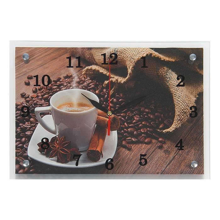"""Часы настенные, серия: Кухня, """"Кофе и зерна"""", 25х35  см, микс"""