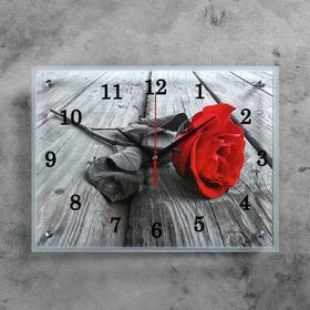 """Часы настенные, серия: Цветы, """"Красная роза"""", 30х40  см, микс"""