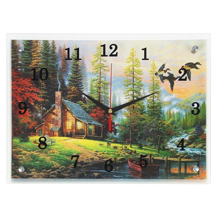"""Часы настенные, серия: Природа, """"Дом у воды"""", 30х40  см, микс"""