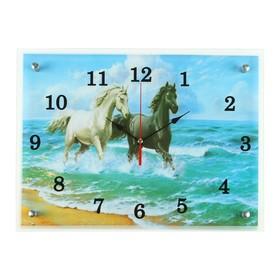 """Часы настенные, серия: Животный мир, """"Лошади в море"""", 30х40  см, микс"""