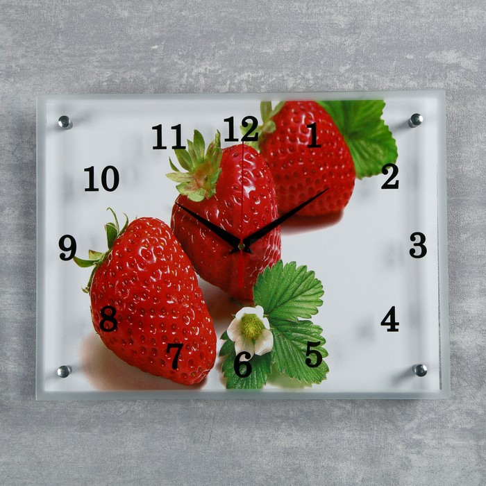 """Часы настенные, серия: Кухня, """"Клубника"""", 30х40  см, микс - фото 1670199"""