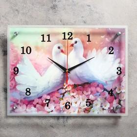"""Часы настенные, серия: Животный мир, """"Два голубя """", 30х40  см, микс"""