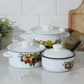 Набор посуды Сибирские товары «Ягодный чай», 3 предмета: кастрюли 2 л, 3,5 л; ковш 1,5 л