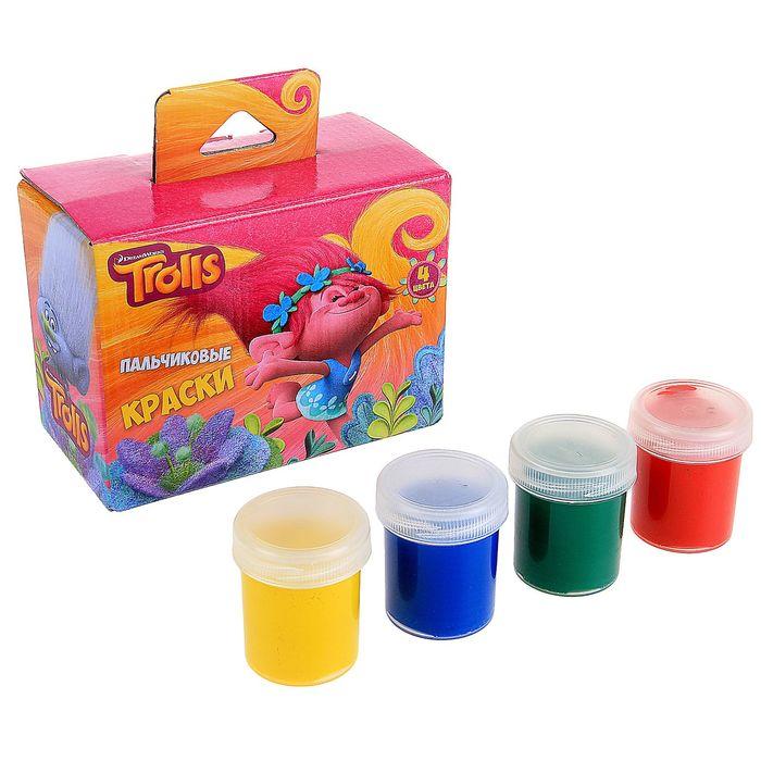 """Набор пальчиковых красок """"Тролли"""", 4 цвета, 40 мл"""
