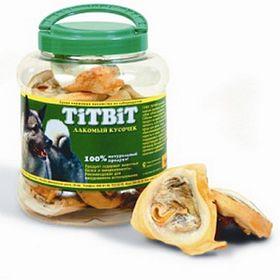 Лакомство TitBit для собак, ухо говяжье, внутреннее, банка, 4,3 л.