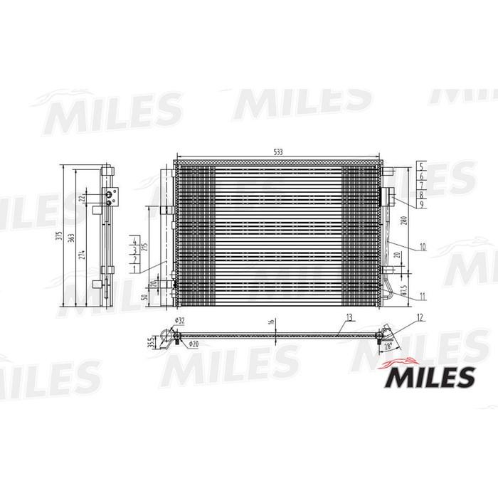 Радиатор кондиционера MILES ACCB002