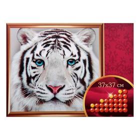 Алмазная вышивка с частичным заполнением «Белый тигр», 37 х 37 см. Набор для творчества