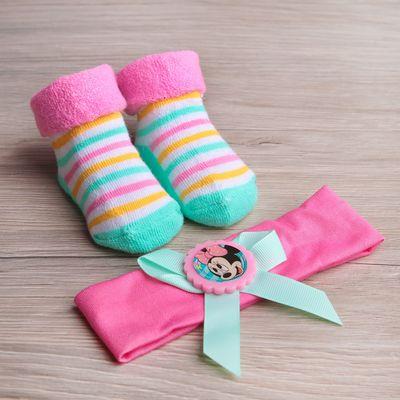 """Набор детский: повязка и махровые носки """"Мини Маус"""", Дисней беби, 3-12 мес, 100% хлопок"""