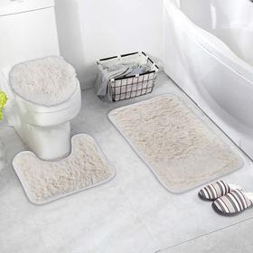 Набор ковриков для ванны и туалета Доляна «Плюшевый», 3 шт: 36×40, 40×50, 50×80 см, цвет белый