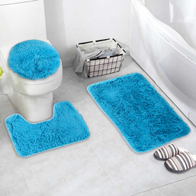 """Set of floor mats for bathroom and toilet """"Plush"""" 3-piece, color dark blue"""