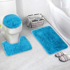 Набор ковриков для ванны и туалета «Плюшевый», 3 шт: 32×40, 40×50, 50×80 см, цвет синий