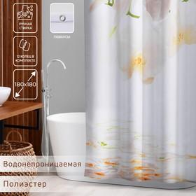 Штора для ванной комнаты Доляна «Орхидея над водой», 180×180 см, полиэстер