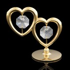 Сувенир «Два сердца», на подставке, 6х3,2х5,5 см, с кристаллами Сваровски