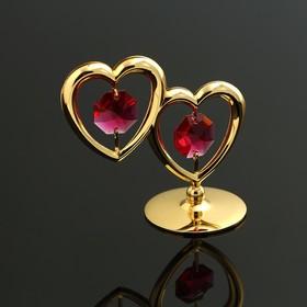 """Фигурка """"Два сердца"""" с 2 красными хрусталиками"""