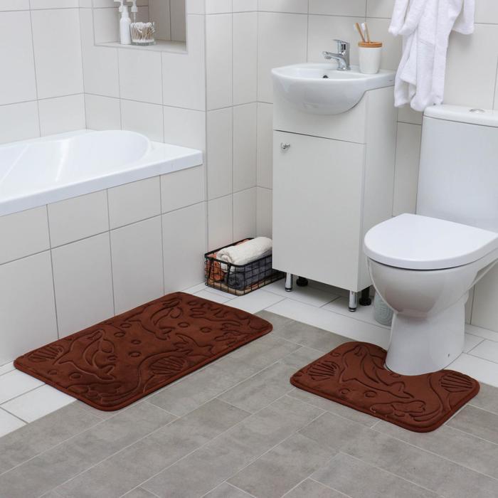 Набор ковриков для ванны и туалета Доляна «Дельфины», 2 шт: 40×50, 50×80 см, цвет МИКС - фото 7929937