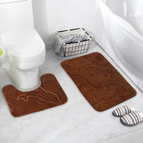 "Set of floor mats for bathroom and toilet ""Dolphins"" bulk 2 PCs, MIX color"