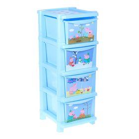 Комод для игрушек 'Свинка Пеппа', 4 выдвижных ящика, цвет голубой Ош