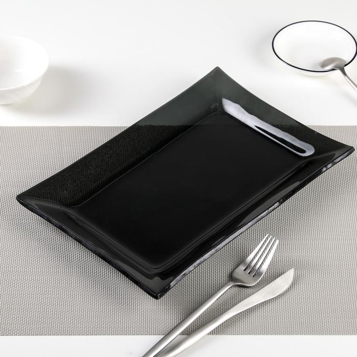 "Блюдо 30х20х2 см ""Стиль"", цвет черный"