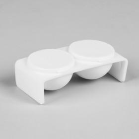 Палитра для акриловой пудры с крышкой, 2 ёмкости, цвет белый