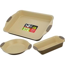 Набор для выпечки CALVE, 3 предмета: противень 44х30 см, форма для пирога 24 см, форма для кекса 29х