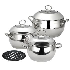 Набор посуды CALVE, 7 предметов: кастрюля с крышкой 2,8 л, кастрюля с крышкой 3,8 л, кастрюля с крыш