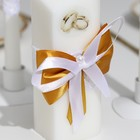 """Набор свечей """"Кружевной"""", золотой : Домашний очаг 6.8х15см, Родительские свечи 1.8х17.5см"""