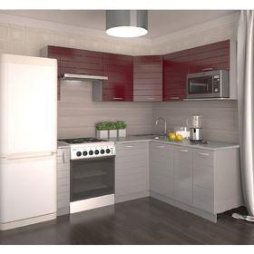 Кухонный гарнитур, 1850 х 1600 мм, цвет Гламур/Серый металлик