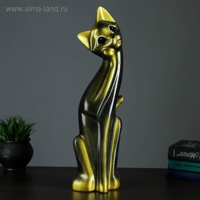 """Сувенир """"Кошка Алиса"""" черная с золотом"""