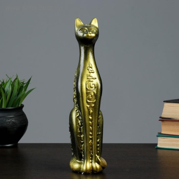 """Сувенир """"Кошка Египетская"""" средняя орнамент черная с золотом"""