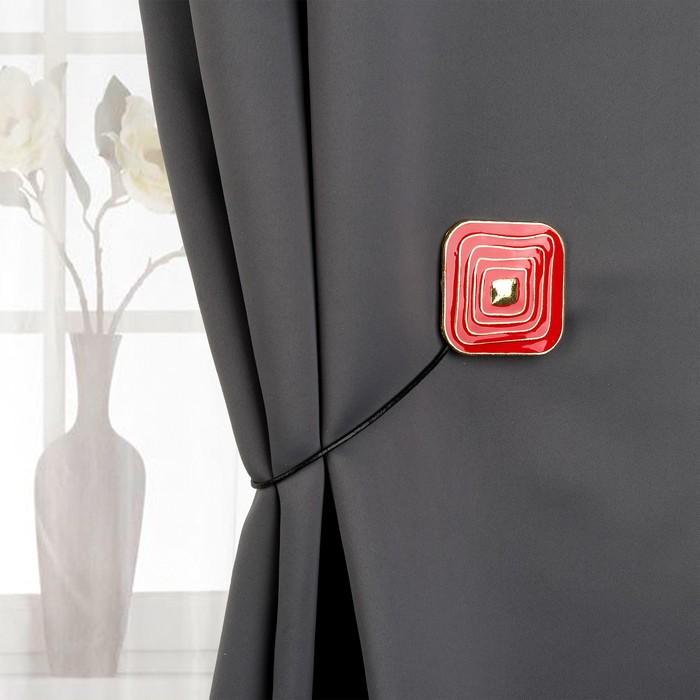 Подхват для штор «Спираль» , 6 × 6 см, цвет золотистый/красный