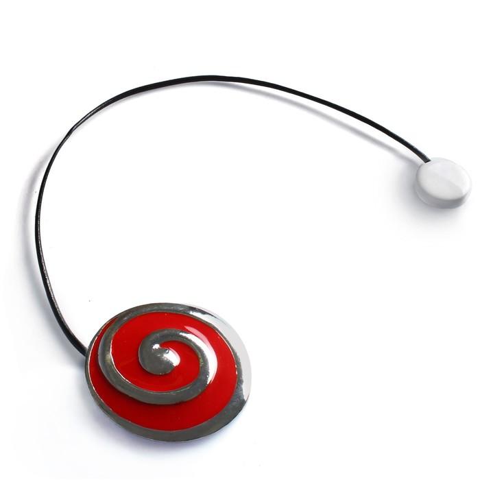 Подхват для штор «Спираль», 6 × 5,5 см, цвет серебристый/красный