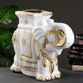 "Фигура - подставка ""Слон"" бело-золотой 21х54х43см"