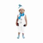 """Детский карнавальный костюм """"Снеговик с голубым шарфом"""", велюр, комбинезон, шапка, шарф, рост 68-98 см"""
