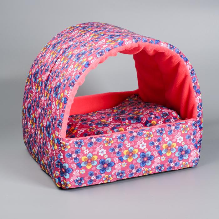 Домик-лежанка, 38 х 38 х 33 см, полиэстер, поролон, в подушке синтепух, микс цветов