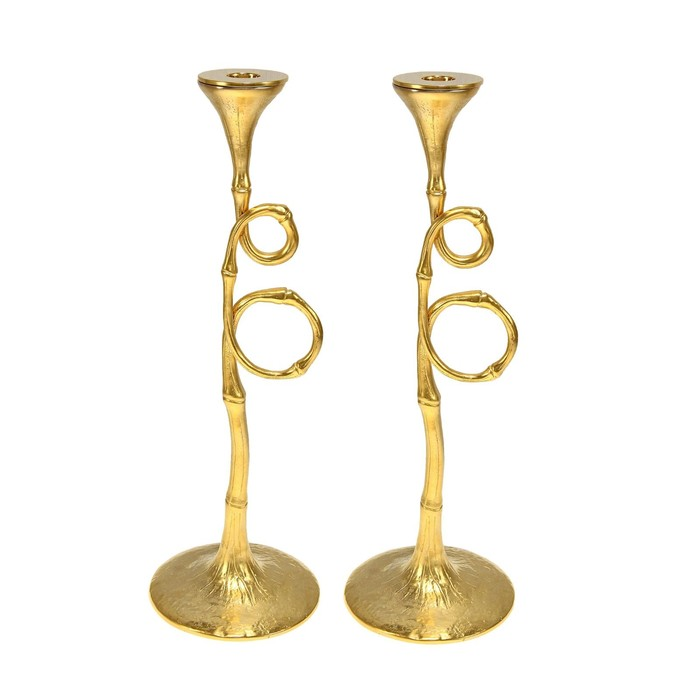 Set of 2 Evoca Gold candle holders.