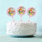 """Топпер """"С Днем рождения"""" клоун со свечкой, розовый цвет (6 шт на держателе)"""
