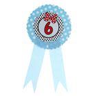 """Значок """"6"""" бантик, голубой цвет"""