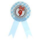 """Значок """"9"""" бантик, голубой цвет"""