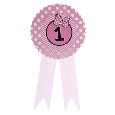 """Значок """"1"""" бантик, розовый цвет"""