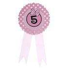 """Значок """"5"""" бантик, розовый цвет"""