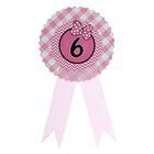 """Значок """"6"""" бантик, розовый цвет"""